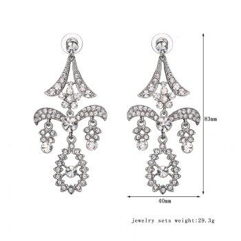 Pair of Rhinestone Hollowed Teardrop Earrings -  SILVER