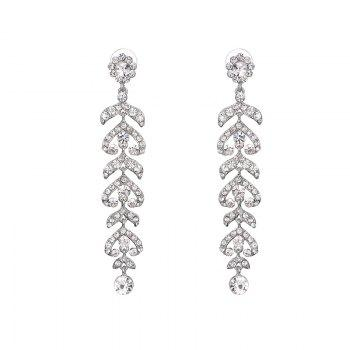 Pair of Rhinestone Branch Drop Earrings - SILVER SILVER