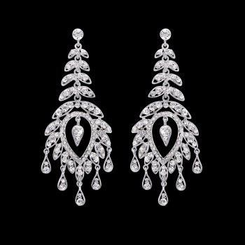 Pair Of Rhinestone Leaf Drop Earrings -  SILVER