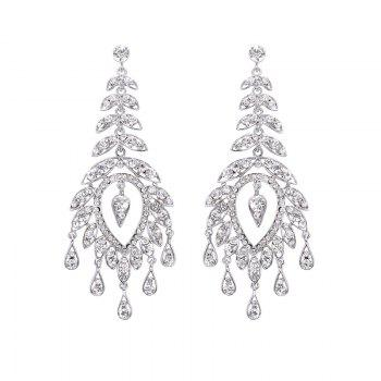 Pair Of Rhinestone Leaf Drop Earrings - SILVER SILVER