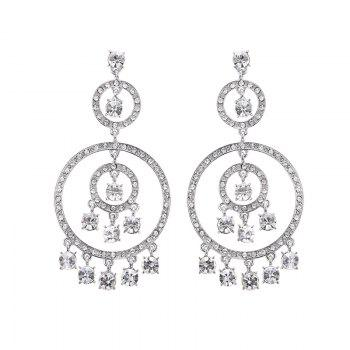 Pair of Rhinestone Circle Fringed Drop Earrings - SILVER SILVER