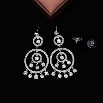 Pair of Rhinestone Circle Fringed Drop Earrings -  SILVER