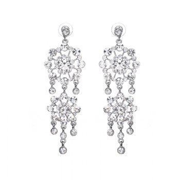 Pair of Rhinestone Floral Fringed Drop Earrings