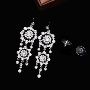 Pair of Rhinestone Floral Fringed Drop Earrings -  SILVER