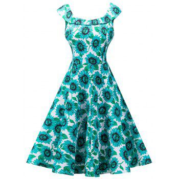 Vintage Sunflower Print High Waist Skater Dress - GREEN XL