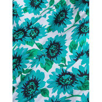 Vintage Sunflower Print High Waist Skater Dress - GREEN GREEN
