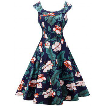 Retro Floral Print High Waist A Line Dress - PURPLISH BLUE PURPLISH BLUE