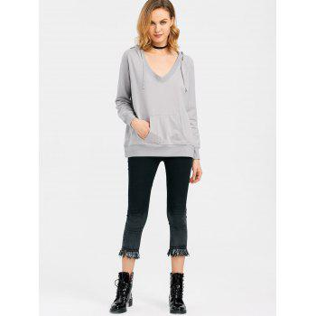 Drawstring Low Cut Hoodie with Pocket - GRAY GRAY