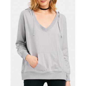 Drawstring Low Cut Hoodie with Pocket - GRAY 3XL