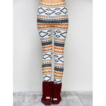 High Stretchy Geometric Print Leggings - WHITE XL