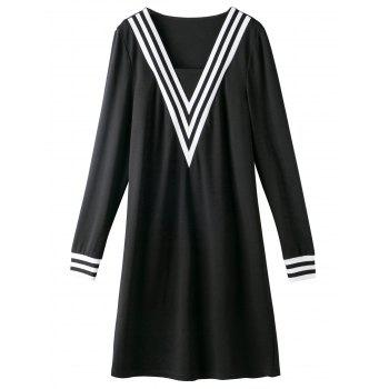 Plus Size Contrast Trim Chevron Dress