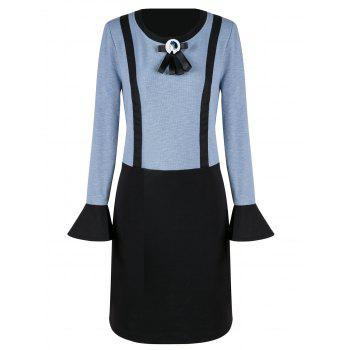 Plus Size Straight Dress with Bow Tie - CLOUDY 5XL
