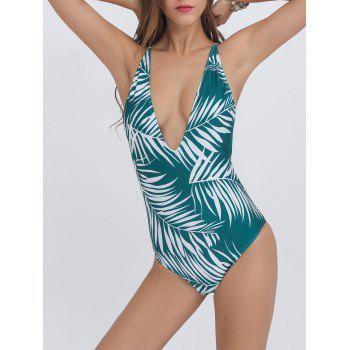 Tropical Print Low Cut Swimsuit