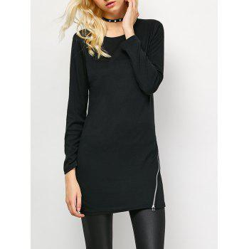 Side Zip Long Sleeve Tee - BLACK L