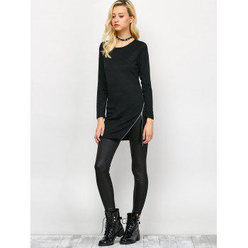 Side Zip Long Sleeve Tee - BLACK BLACK