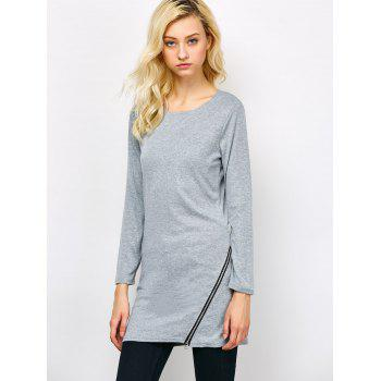 Side Zip Long Sleeve Tee - GRAY L