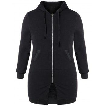 Plus Size Hooded Zip Up Coat