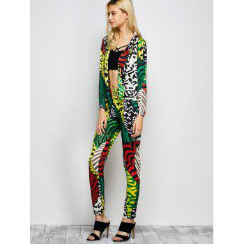 Printed Collarless Cardigan with Tapered Pants - COLORMIX COLORMIX