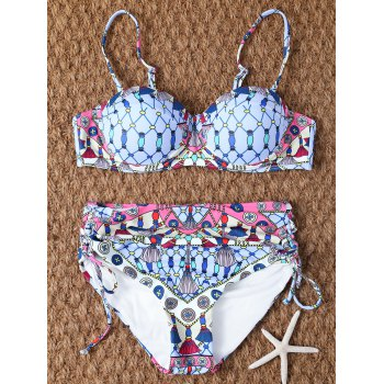 Halter Lace Up High Waisted Printed Bikini Set