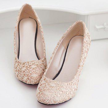 Elegant Lace and Round Toe Design Wedge Shoes For Women - 38 38