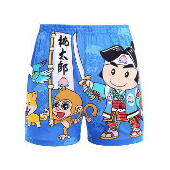 Chinese Character Cartoon Printed Elastic Waist Shorts