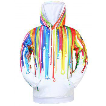 Buy Rainbow Drawstring Kangaroo Pocket Hoodie WHITE