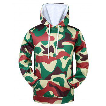 Kangaroo Pocket Drawstring Camouflaged Hoodie