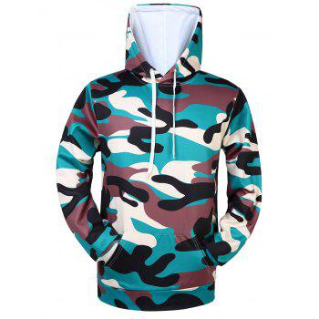 Kangaroo Pocket Camouflaged Drawstring Hoodie
