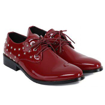 Fashion Rivets and Patent Leather Design Formal Shoes For Men - WINE RED 41