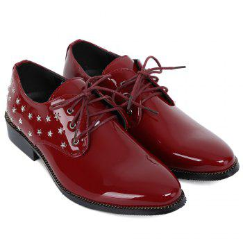 Fashion Rivets and Patent Leather Design Formal Shoes For Men - WINE RED 38