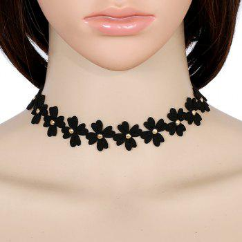 PU Leather Velvet Clover Choker Necklace