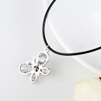 Rhinestone Butterfly Faux Leather Rope Necklace