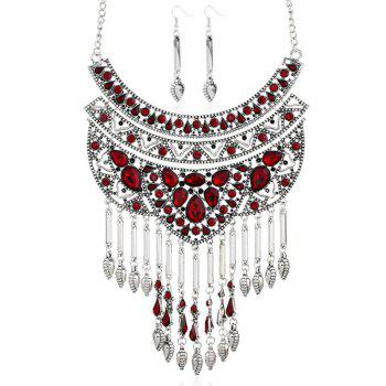 Faux Ruby Teardrop Necklace and Earrings