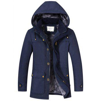 Flocking Pocket Zip Up Hooded Jacket