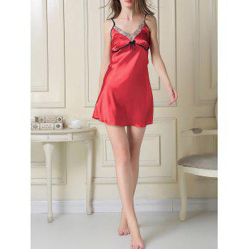 Contrast Trim Satin Slip Dress and Robe - RED L