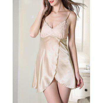 Crossover Hem Satin Slip Sleep Dress
