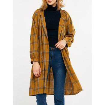 Plaid Collarless Longline Cardigan