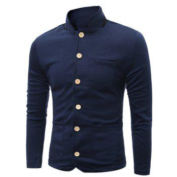 Single Breasted Stand Collar Pockets Cotton Jacket