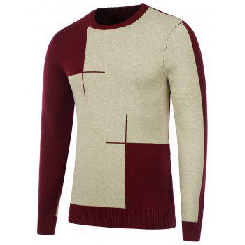 Two Tone Crew Neck Knitted Sweater