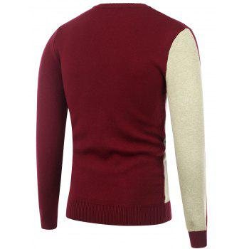 Two Tone Crew Neck Knitted Sweater - M M