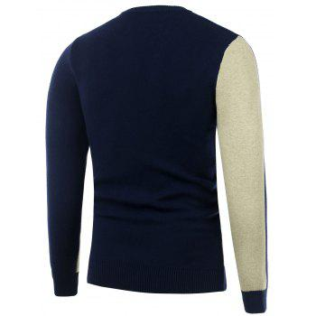 Two Tone Crew Neck Knitted Sweater - CADETBLUE CADETBLUE
