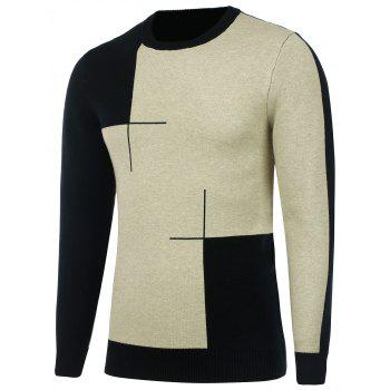 Two Tone Crew Neck Knitted Sweater - BLACK L