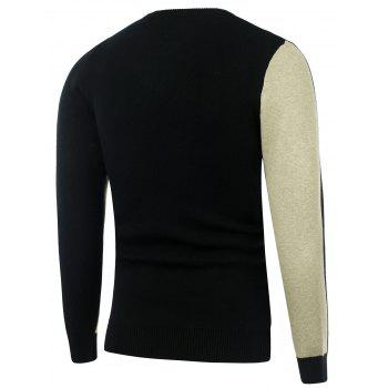 Two Tone Crew Neck Knitted Sweater - L L