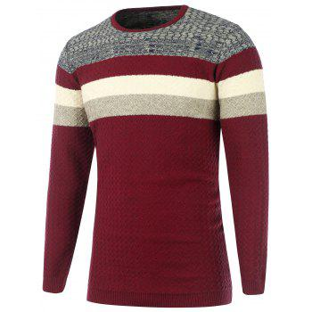 Wavy Stripes Knitted Color Matching Sweater - BURGUNDY XL