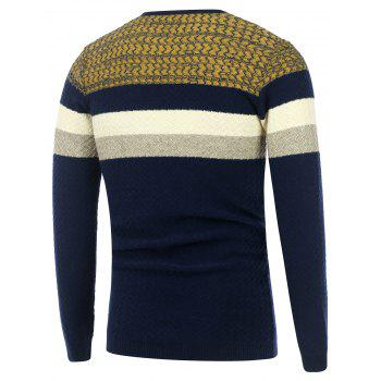 Wavy Stripes Knitted Color Matching Sweater - CADETBLUE CADETBLUE