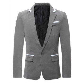Color Block Edging Lapel One Button Blazer