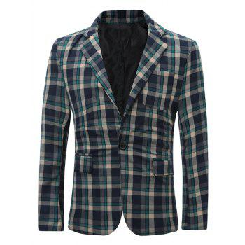 Checked Lapel One Button Pockets Blazer