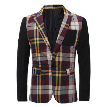 Color Block Checked Lapel One Button Pockets Blazer