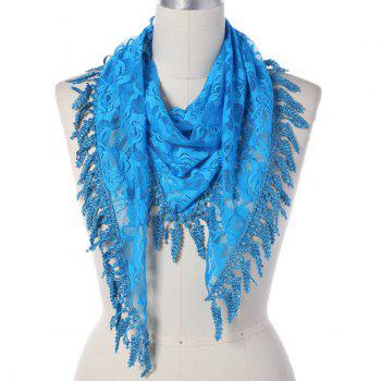 Leaf Tassel Lace Triangle Scarf