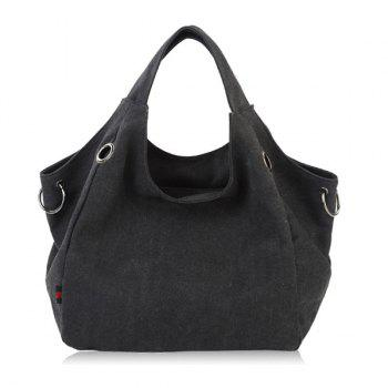 Eyelets Metal Ring Canvas Shoulder Bag